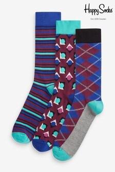 Happy Socks Purple Socks Three Pack Gift Box