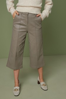 Coated Denim Culottes