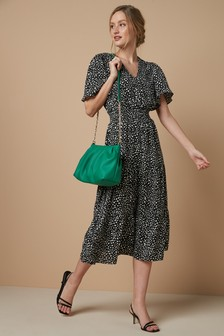 Shirred Waist Tiered Midi Dress