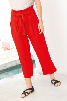 מכנסי-חצאית עם חגורה מבד טוויל