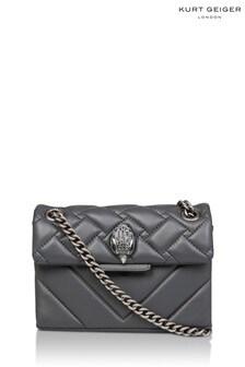 Sivá kožená mini kabelka Kurt Geiger London Kensington X