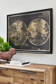 World Map Framed Art