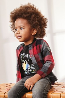 Long Sleeve Check Baseball Shirt And T-Shirt Set (3mths-7yrs)