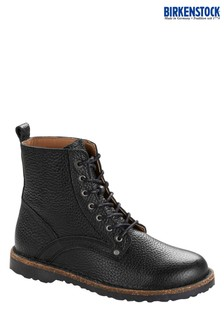 Birkenstock® Black Grained Leather Lace-Up Boots