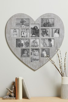 Grey Heart Shaped Multi Aperture Photo Frame