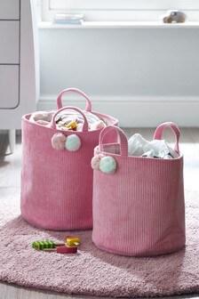 2 Pack Pom Pom Cord Kids Storage Baskets