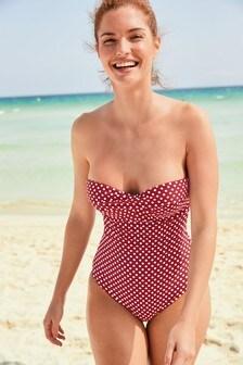Spot Twist Bandeau Swimsuit