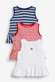 3 Pack Cherry Print Peplum T-Shirts (3mths-7yrs)