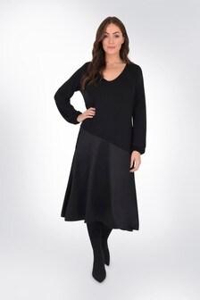 שמלת ג'רסי בצבע שחור עם פאנל סאטן למידות גדולות שלLive Unlimited