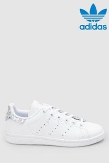 Белые/переливающиеся кроссовки adidas Originals Stan Smith (для подростков)