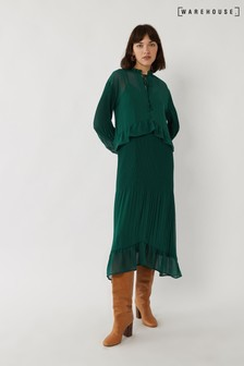 Warehouse Green Tiered Pleated Midi Dress
