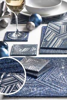 4 Reversible Faux Leather Placemats And Coasters Set