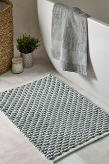 條紋編織浴墊