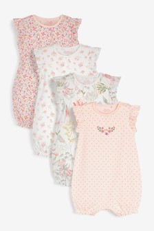 4 Pack Pretty Pink Rompers (0mths-3yrs)
