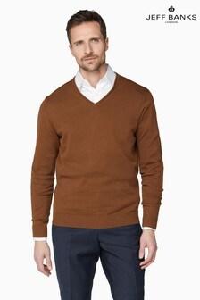 Jeff Banks Brown Men's Knitted V-Neck Sweater