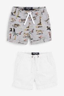 2 Pack Linen Blend Shorts (3mths-7yrs)