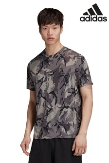 adidas D2M T-Shirt mit Camouflage-Muster, Grau