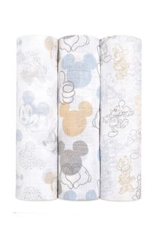 aden + anais™ Large Swaddles 3 Pack Cotton Muslin Metallic Disney® Baby - Mickey Mouse™ + Minnie Mouse™