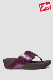 FitFlop™ Purple Paisley Glitter Rope Toe Post Sandals