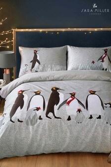 Komplet pościeli bożonarodzeniowej Sara Miller w pingwiny: poszwa na kołdrę i poszewki na poduszki
