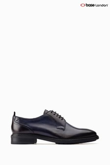 Base London® Blue Boston Lace-Up Plain Toe Derby Shoes