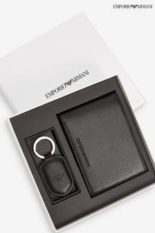 Emporio Armani 黑色皮夾和鑰匙圈組