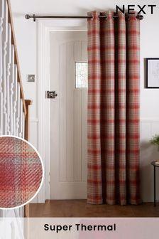 Red Tweedy Cranford Eyelet Door Curtains