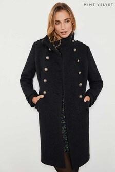 Mint Velvet Black Military Bouclé Coat