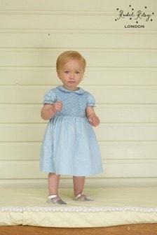 Rachel Riley Gesmoktes Kleid mit Rosenmotiv, Blau