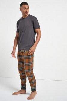 Пижама с текстильными брюками в клетку с манжетами