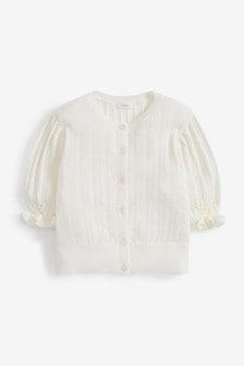 Short Sleeved Pointelle Cardigan (3-16yrs)