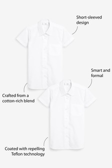 2 Pack Short Sleeve Formal Shirts (3-16yrs)