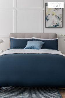 Navy Collection Luxe 400 Thread Count 100% Egyptian Cotton Sateen Duvet Cover And Pillowcase Set