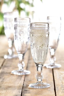 Amelie Embossed Set of 4 Flute Glasses