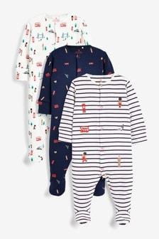Pyjama-Sets mit Busmotiv, 3er-Pack (0Monate bis 2Jahre)