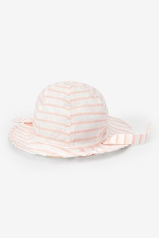 Floral/Stripe Reversible Hat (0mths-2yrs)