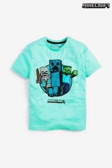 Minecraft T-shirt met korte mouwen en lovertjes  (4-14 jr)