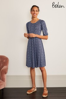 Boden Blue Lily Puff Sleeve Jersey Dress