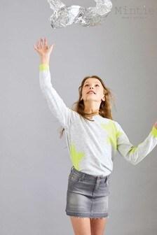 חצאית ג'ינס עם אמרה נוצצת של Mintie by Mint Velvet באפור