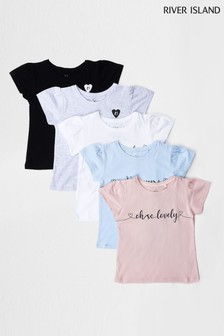 River Island Light Pink Puff Sleeve T-Shirts Five Pack