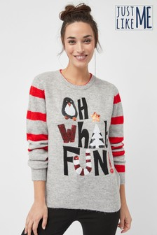 Women's Matching Family Oh What Fun Crew Neck Jumper