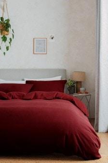 Komplet czerwonych poszewek na kołdrę i poduszkę z 100% miękkiej czesanej bawełny