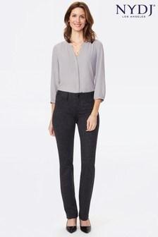 NYDJ Grey Marilyn Straight Leg Ponte Knit 5 Pocket Trousers
