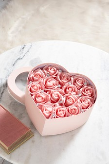 Artificial Roses In Heart Box
