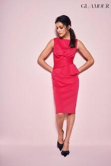 فستان أحمر كرزي بكشكشة GlamourمنKhost