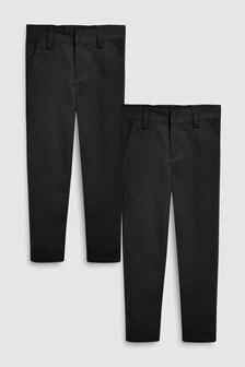 Две пары зауженных брюк без защипов спереди (3-16 лет)