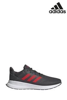 Серые/красные кроссовки для бега adidas Falcon