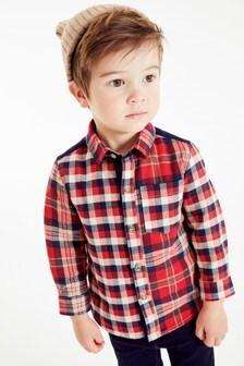 Long Sleeve Spliced Check Shirt (3mths-7yrs)