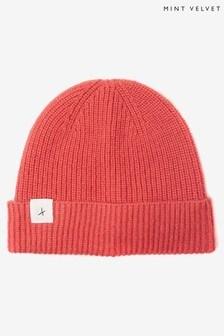 Mint Velvet Pink Star Knitted Beanie Hat