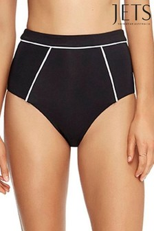 Jets Black Classique High Waist Bikini Bottoms